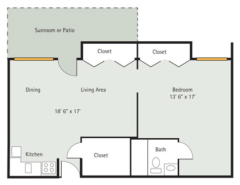 Hickory 1 Bedroom Apartment Floorplan