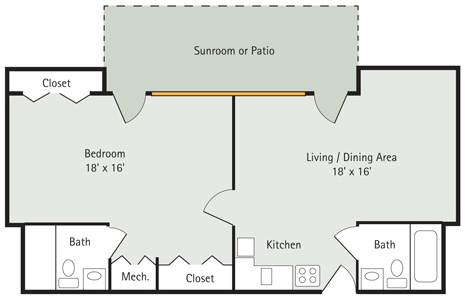 Pink Oak 1 bedroom apartment floorplan