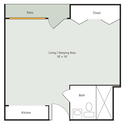Redbud Studio Apartment Floorplan