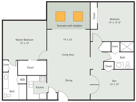 Spruce 2 bedroom apartment floorplan